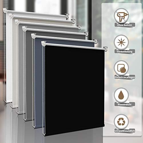 Sanfree Thermorollo Klemmfix ohne Bohren, Verdunkelungsrollo für Fenster Sichtschutz, Rollo Sonnenschutz Klemmrollo Fensterrollo Innen Blickdicht Silberbeschichtung,Schwarz 100x150cm (BxH)