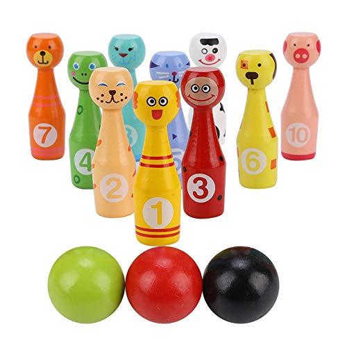 【𝐎𝐬𝐭𝐞𝐫𝐧】 Bowlingkugel Spielzeug, Kinder pädagogische Tier Bowling Flasche Ball Kinder Outdoor-Spiel Holzspielzeug