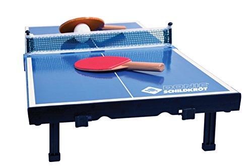 Donic-Schildkröt Tischtennis-Mini-Tisch, Mini-Tischtennistischplatte, Set mit 2 Schlägern, 1 Ball, Platte zusammenklappbar, Aktenkoffer-Größe, Blau, Platte: 68 x 33 x 9 cm, 838576