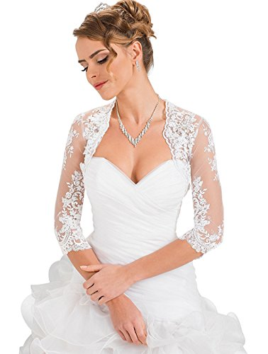 YASIOU Damen Ärmel Top Spitzen Weiß Jacke für die Braut Spitzen Bolero zum XS - 3XL Langarm Brautjacke