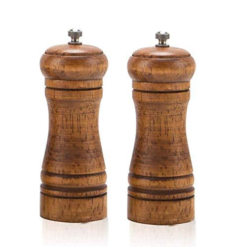 CHUTD Einstellbare Salz- und Pfeffermühle aus Holz 2 Stück, Handschüttler-Gewürzmühlen aus Keramikmühle