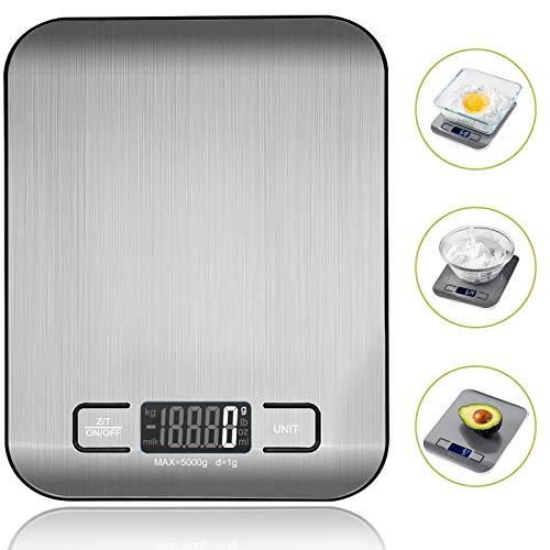 VIBOOS Küchenwaage Digital, Electronische Waage Küchenwaage für Lebensmittel, Haushaltswaage mit LCD-Display aus Edelstahl,Tara-Funktion Küchenzubehör