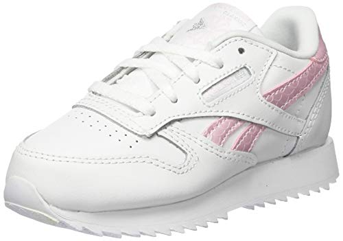 Reebok Unisex Baby Classic Leather Gymnastics Shoe, White/Pixel Pink/None, 21.5 EU