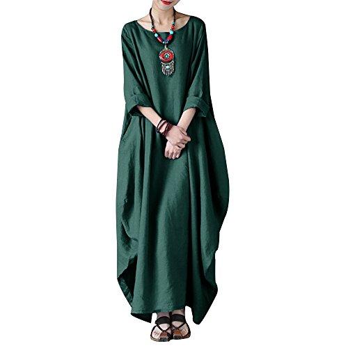 VONDA Damen Langarm Kleid Lange Größe Maxikleid Mittelalter Kaftan Kleider A-Armeegrün XL