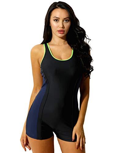 inhzoy Damen Badeanzug Bauchweg Sportlich Schwimmanzug Racerback mit Bein Einteiler Bademode Slim Figurformend Schwimm Badebekleidung Navy Blau L