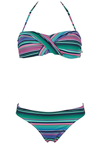 Chiemsee Damen Ebony 2 Bandeau Bikini, Stripe Vivid G, S