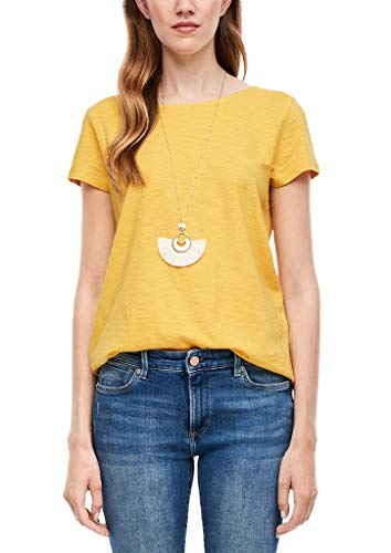 s.Oliver Damen Slub Yarn-Shirt mit Häkelspitze yellow 46