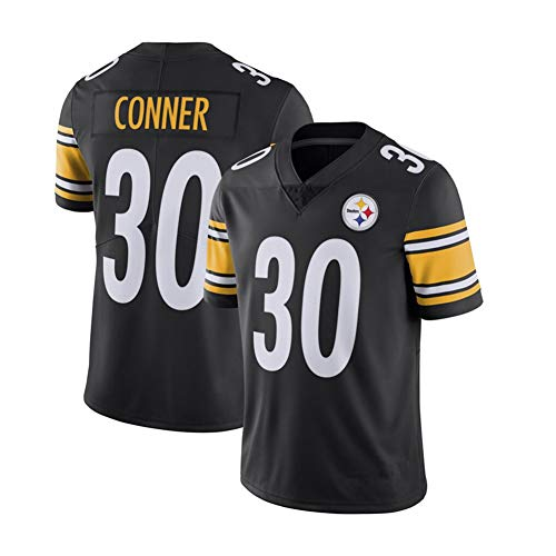 James Conner # 30 Pittsburgh Steelers Herren Rugby-Trikot, Stickerei Fußball Kurzarm Trining Unisex Swingman Trikots Atmungsaktives T-Shirt Wiederholbare Reinigung, Black A-L