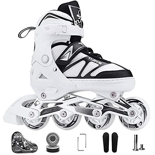 Kinder Herren Damen Inliner Inlineskates ABEC-7 Chrome Kugellager Einstellbare Unisex Fitness Skates für Erwachsene Anfänger mädchen Jungen (White, L(38-41))
