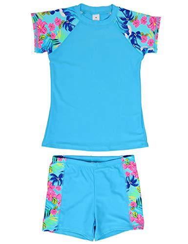 DUSISHIDAN Jungen Mädchen Schwimmbekleidung UV Schutz badeshirt Kinder Bademode Bade-Set Blau L