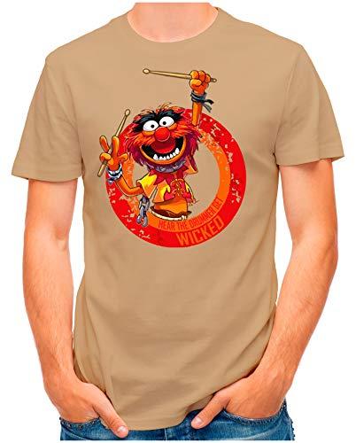 OM3® - Wicked-Drummer - T-Shirt   Herren   Schlagzeuger Drums Heavy Metal Rock   Khaki, L