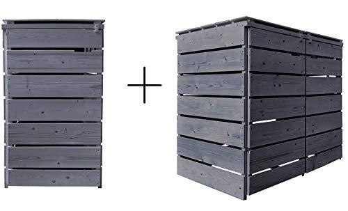 Lukadria Mülltonnenbox Mülltonnenverkleidung Mülltonnecontainer Holz 120L - 240L vorimprägniert in anthrazit mit Rückwand Alster (3 Tonnen)