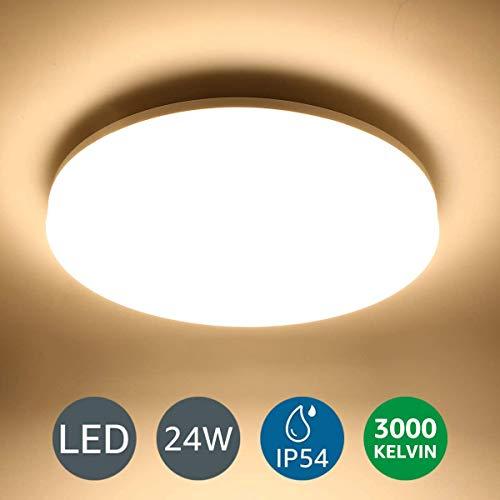 Lighting EVER 24W Deckenlampe, IP54 Wasserfest Badlampe, 3000K LED Deckenleuchte, 2400lm Lampen ideal für Badezimmer Balkon Flur Küche Wohnzimmer, Warmweiß Badezimmerlampe Ø33cm