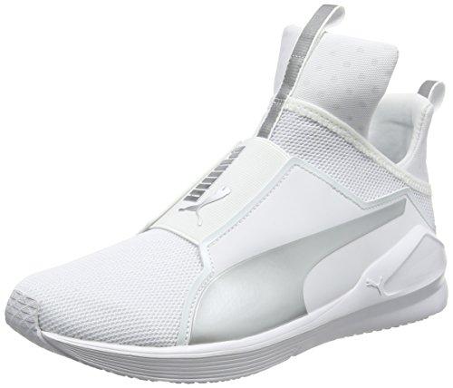 PUMA Damen Fierce Core Hallenschuhe, Weiß (White-Silver), 40 EU