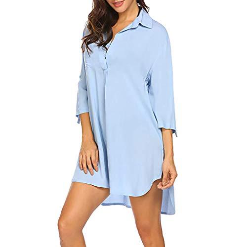 MRULIC Damen Langes einfarbiges T-Shirt mit kurzen Ärmeln und kurzen Ärmeln (L, Blau)