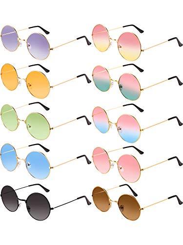 10 Paar Runde Hippie Sonnenbrille John 60's Stil Kreis Farbige Brille (Gold Rahmen 2)