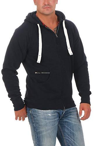 Happy Clothing Herren Kapuzenjacke mit Zip, Dunkelblau, L
