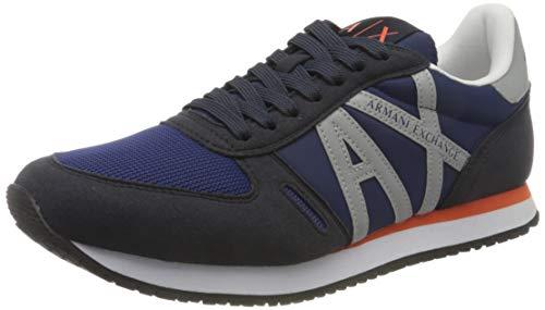 Armani Exchange Herren Micro Suede Multicolor Sneakers Sneaker, Navy Reflex Silver, 43 EU