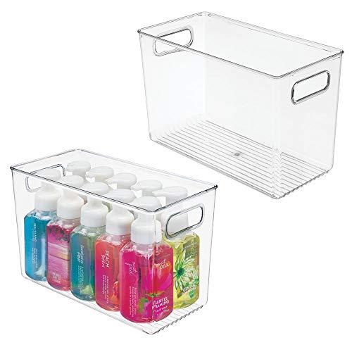 MDESIGN 2er-Set Badezimmer Organizer – Aufbewahrungsbox mit Griffen für Shampoo, Handtücher und andere Badutensilien – auch zur Kosmetikaufbewahrung geeignet – durchsichtig