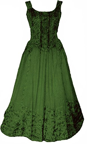 Dark Dreams Kleid Mittelalter Gothic Schnürung Audry schwarz rot grün braun weiß 36 38 40 42 44 46, Farbe:grün, Größe:S/M