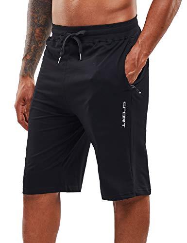 YAWHO Herren Sporthose Kurz Hose Laufshorts Trainingsshorts Schnelltrocknend mit Reißverschlusstasche/Jogging Hose für Workout,Laufsport,Fitness (Black, L)