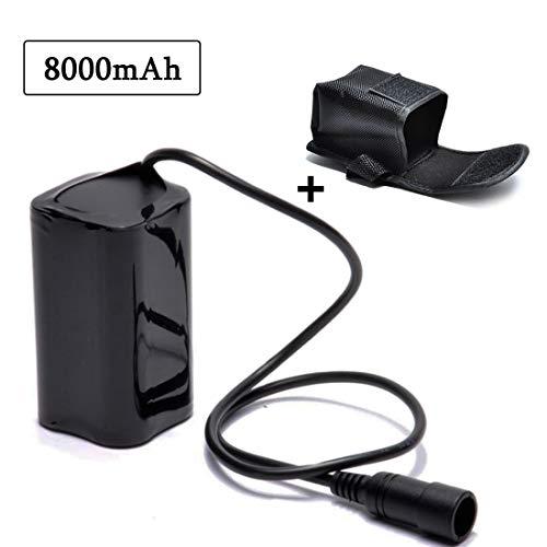lillimasy Ersatzbatterie für Fahrradlampe, Fahrrad Licht Akku Pack 8.4V 8000mAh für Cree T6 U2 Licht LED Fahrradlampe - Bajonettanschluss