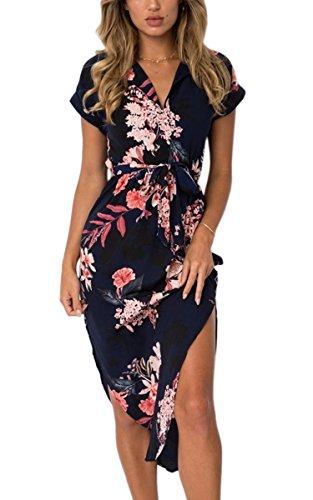 ECOWISH Sommerkleider Damen Kurzarm V-Ausschnitt Strand Blumen Kleider Abendkleid Knielang Schwarz M