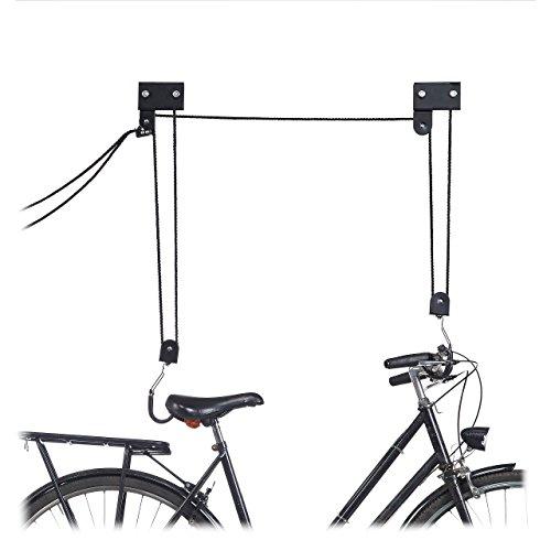 Relaxdays Fahrrad Deckenlift, 45 kg Traglast, mit Haken, universal, mit Seilbremse, Seilzug, Kajak, Fahrradlift, schwarz