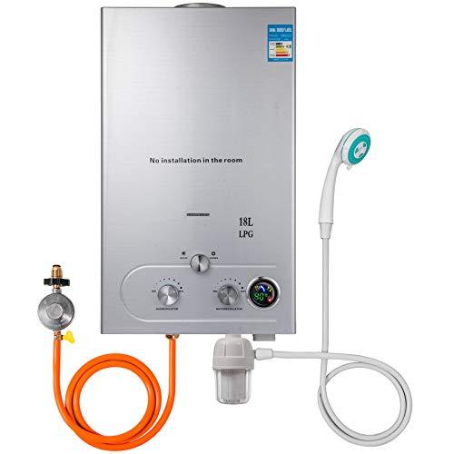 VEVOR Upgrade Typ 18L LPG Gas-Warmwasserbereiter ohne Tank mit Duschkopf Kit Wasserfilter & Gasregler(18L LPG)