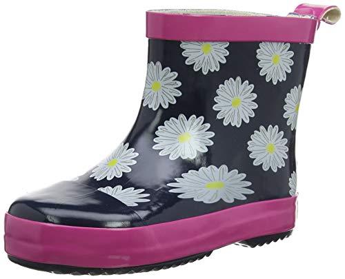 Playshoes Kinder Gummistiefel aus Naturkautschuk, trendige Unisex Regenstiefel mit Reflektoren, mit Blumen-Motiv, Blau (Marine/Pink 372), 24 EU