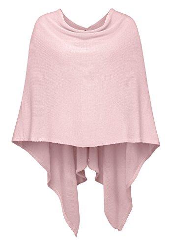 Cashmere Dreams Poncho-Schal aus Baumwolle - Hochwertiges Cape für Damen - Umhängetuch und Tunika - Strick-Pullover - Sweatshirt - Stola für Sommer und Winter Zwillingsherz,Einheitsgröße,Rosa