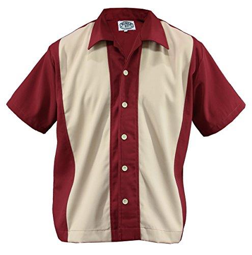 Herren Bowling Shirt Worker Hemd Rockabilly Two Tone Gabardine Lounge Fifties Vintage Retro Double Panel, D600 (L/Large, Rot/Beige)