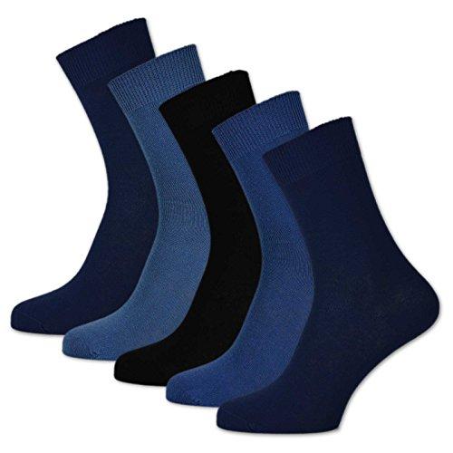 sockenkauf24 10 Paar Damen & Herren Socken 100% Baumwolle ohne Naht und ohne Gummidruck versch. Sortierungen (39-42, Jeans)