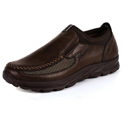 Gracosy Herren Mokassin, Herren Derby Schnürhalbschuhe Flache Slipper Oxford Casual Schuhe Herbst Low-Top Lederschuhe Freizeitschuhe, Braun-uk Lager, 39 EU (Herstellergröße: 245)