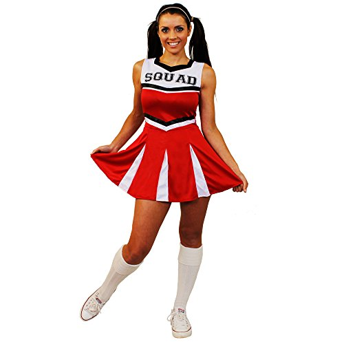 I Love Fancy Dress ilfd4060 m Damen Cheerleader Fancy Kleid Kostüm mit Squad Print und Faltenrock (mittel)