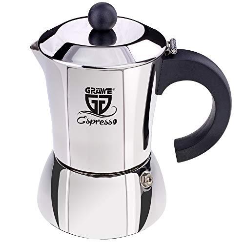 GRÄWE Espressokocher Induktion geeignet, Espressokanne aus Edelstahl für 4 Tassen, Klassischer Espresso Maker ohne Aluminium - 200 ml