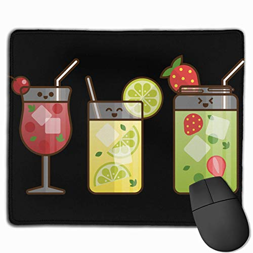 Whecom Gaming Mauspad Schwarz, Non-Slip Mouse Pad Rectangle Rubber Mousepad Juice Glasses Print Gaming Mouse Pad