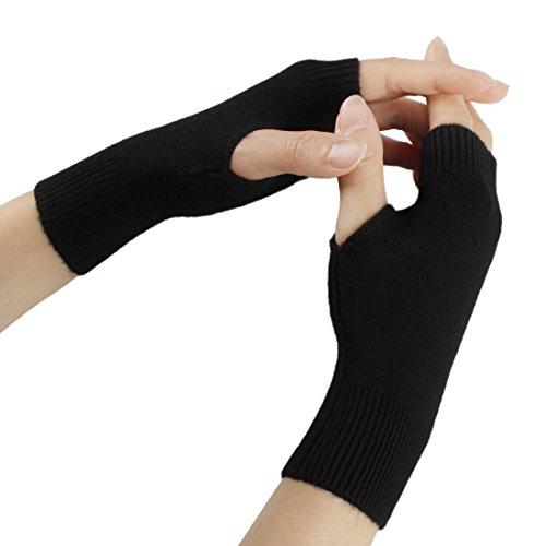 Larcele Kaschmir Handschuhe Fingerlose Fäustlinge Handwärmer für Damen BZST-02 (Schwarz)