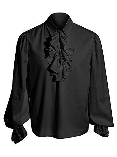 Herren Rüschenhemd Mittelalter Hemd Pirat Shirt Langarm Kostüm Renaissance Gothic Viking Viktorian Steampunk Karneval Männer Freizeithemd, A-Schwarz, XXL