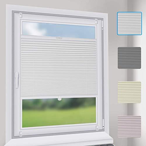 Sekey Premium Plissee - Hochwertiges Faltrollo ohne Bohren - 50 x 120cm - Jalousie für Fenster & Tür - Sonnenschutz - lichtundurchlässig - Weiß