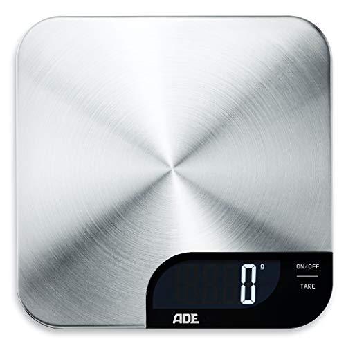ADE Digitale Küchenwaage KE1600 Alessia. Elektronische Waage mit Wiegefläche aus gebürstetem Edelstahl für präzises Wiegen bis 5kg. Mit Zuwiegefunktion (Tara). Inkl. Batterie. Silber-Schwarz