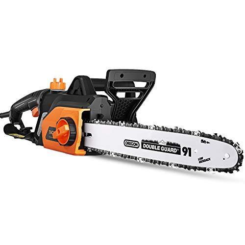 Tacklife Elektro Kettensäge 1800W, Schwertlänge 35 cm, Kettengeschwindigkeit 15m/s, Werkzeuglose Kettenspannung, Kettensäge mit auto. Kettenschmierung-GCS1800