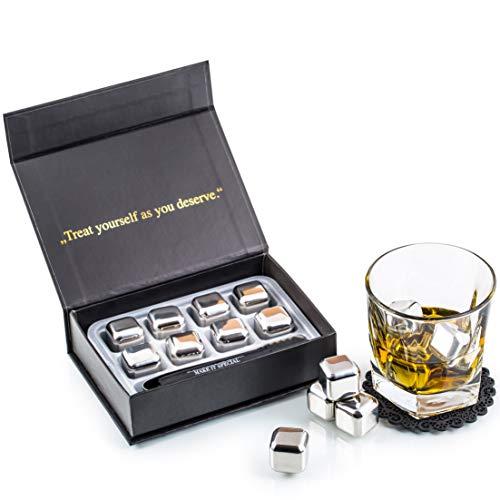 Exklusives Edelstahl Whisky Steine Geschenkset – Hohe Kühltechnologie - 8 Whisky Eiswürfel Wiederverwendbar - Edelstahl Eiswürfel - Besondere Geschenke für Männer - Edelstahl Kühlstein von Amerigo