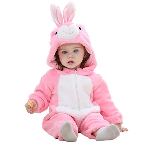 MICHLEY Baby mädchen und Junge Flanell Frühling Strampler Pyjama kostüm Bekleidung Karikatur Tier Jumpsuit Spielanzug Schlafanzug 6-12 Monate