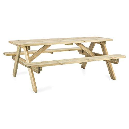 blumfeldt Picknicker 180 - Picknicktisch, Gartentisch, Garnitur, Tisch mit 2 Sitzbänken, 180 x 70 x 128 cm, skandinavisches Kiefernholz, FSC-Zertifiziert, Hellbraun