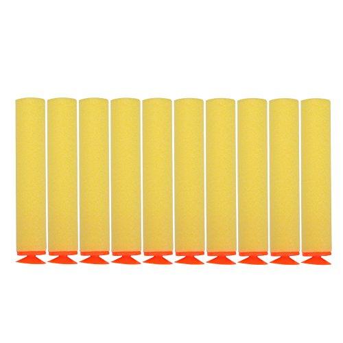 100 stücke Foam Bullet, 10 Farben Toy Gun Soft Refill Kugeln Darts Eva-Schaum für N-Strike Elite(Gelb)