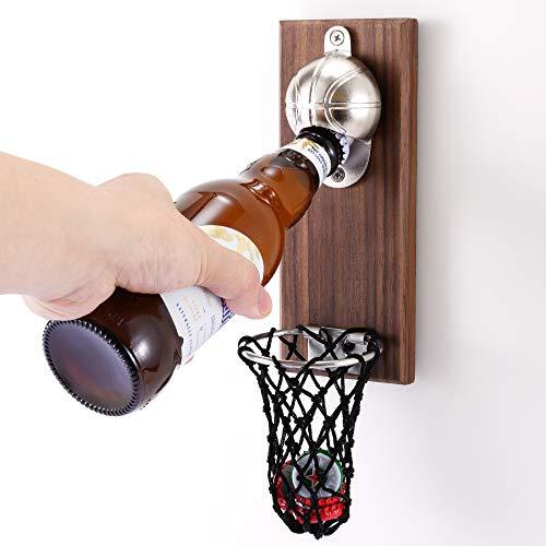 Magnetischer Kühlschrank Flaschenöffner Basketball Bier öffner Wandmontage Flaschenöffner mit Kappenfänger Wand befestigter Holz-Flaschenöffner Zuhause Bar Dekoration Sodaöffner Biertrinker Geschenk