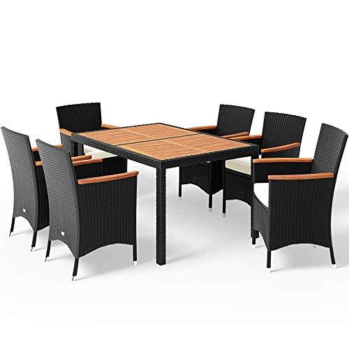 Casaria Poly Rattan Sitzgruppe Schwarz 7cm Dicke Auflagen 6 Stapelbare Stühle Tisch und Armlehnen aus Holz Gartenmöbel Set