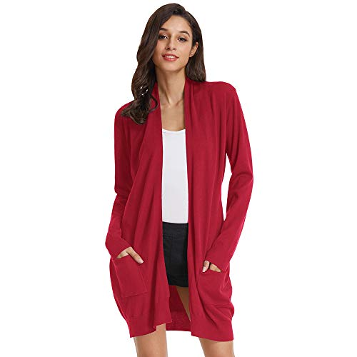 GRACE KARIN Damen Strickjacke Langarm Lang Sweater High Stretchy Casual Cardigan Knitwear mit Taschen L Rot2 CLAF1003-23