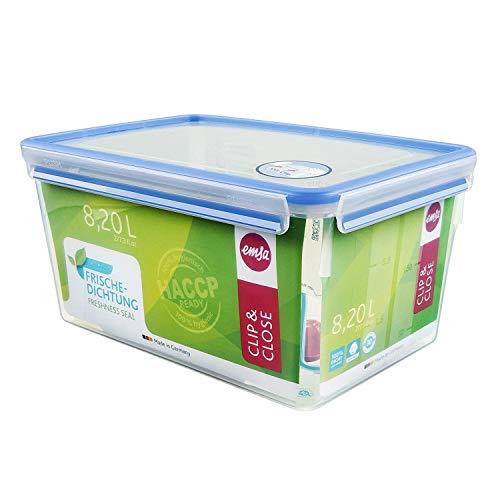 Emsa 508548 Rechteckige Frischhaltedose mit Deckel, 8.2 Liter, Transparent/Blau, Clip & Close